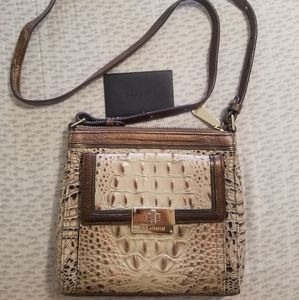 Brahmin cross body purse, light/dark brown